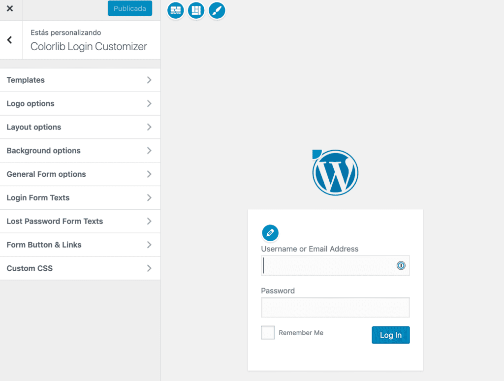 Login de WordPress Customizer