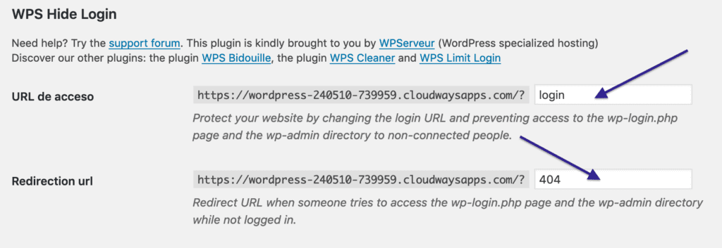 WPS HIDE LOGIN de WORDPRESS
