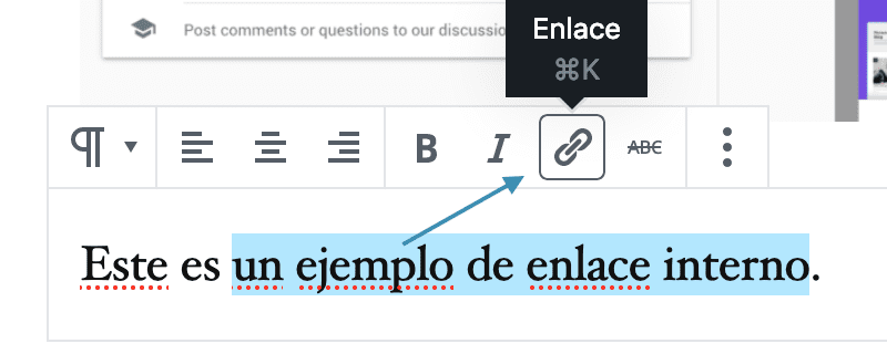 Crear enlace interno en Gutenberg, WordPress